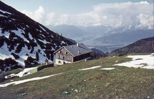 This is a view of Solsteinhaus and the Zirl vally from the lower slopes of Erlspitze