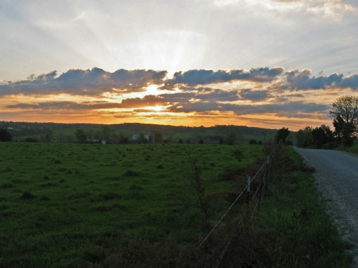 The sun rises on an Ozark Mountain Country cattle farm located off I44 on the gravel Sampson Road