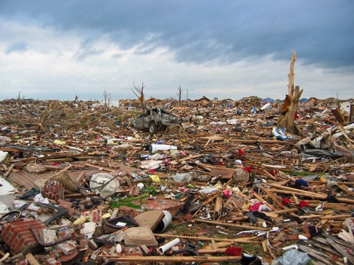 This how the tornado left the Westmoor Subdivision in Moore, Oklahoma on 5/20/2013
