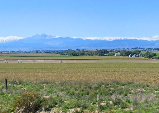 This is a view of the prairie and Longs Peak at 14,259 feet in Rocky Mountain National Park from near Johnstown, Colorada