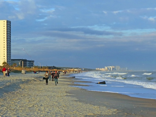 This view on Surfside Beach on Thanksgiving Day shows Myrtle Beach, South Carolina in the background