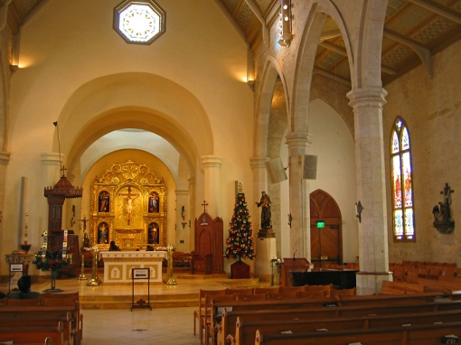 Inside view of the Cathedral of Fernando at Christmas time