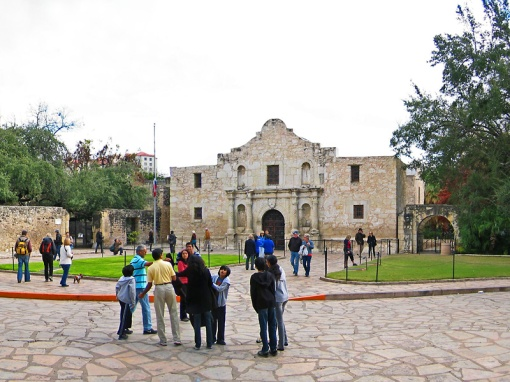 Visitors come to see the historical Alamo Mission that had its foundation started in 1744.