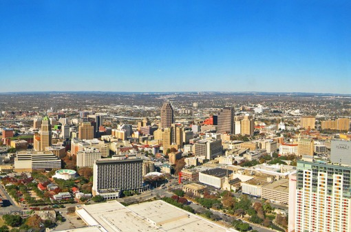 A view of downtown San Antonio, Texas fro the observation deck of the Tower of the Americas