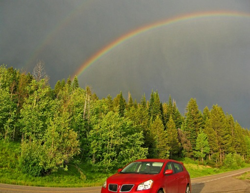 This double rainbow was photographed on the John D. Rockefeller Jr Memorial Parkway near Colter Bay, Wyoming.