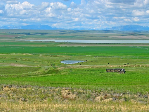 The south end of Freezout Lake can be seen from U.S. Hwy 89 at Fairfield, Montana with the Prairie and Rocky Mountains in the distance