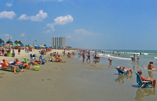 A beach view on Myrtle Beach sea shore near the end of summer
