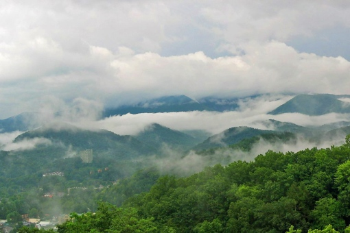 Smoky Mountains early morning summer view of Gatlinburg, Tennessee