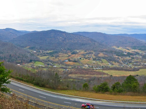 A western winter view from Rarity Mountain at Jellico, Tennessee