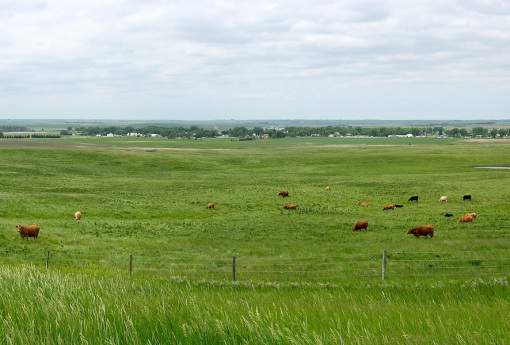 A small farm town view on the Montana prairie