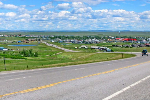 View of Browning, Montana on highway 2 overlooking the prairie and east of Glacier National Park