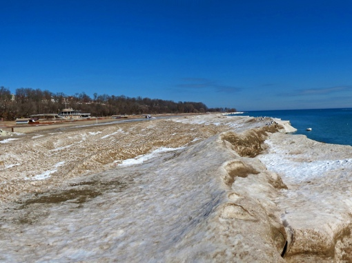 A snow and ice shelf was formed on Bradford Beach this winter in Milwaukee, Wisconsin.