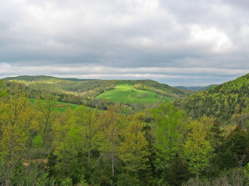The Ozarks Mountains, extending southwest from St. Louis to the Arkansas River, represents along with the Quachita and Boston Mountains the only rugged topography between the Appellations and the Rockies.