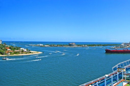 View of the Ft. Lauderdale harbor inlet from the top deck of the cruise ship.