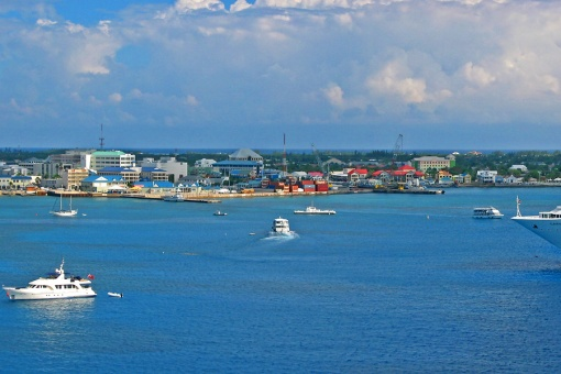 The cruise ship arrived at the Grand Cayman Georgetown Port early in the morning.