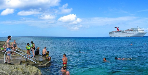 Snorkeling at the Georgetown Port on Grand Cayman island.