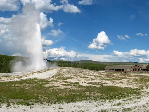 Old Faithful erupts every 35 to 120 minutes for 1 to 5 minutes to a height of 90 to 184 feet.