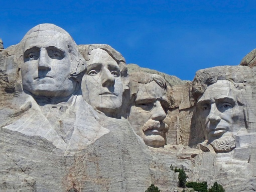 Presidents George Washington, Thomas Jefferson, Theodore Roosevelt, and Abraham Lincoln.