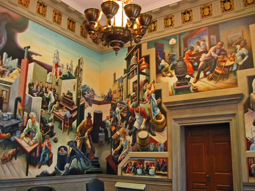 The Thomas Hart Benton mural was completed in the Missouri State Capital in 1936 and depicts a Social History of the State of Missouri.