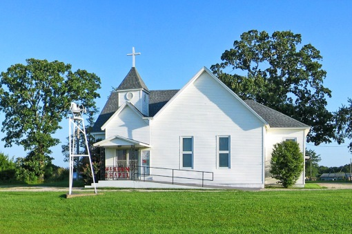 This country church was photographed on 3 Goose Creek Road in Conway, Missouri.