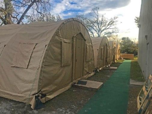 Men volunteers slept in tents