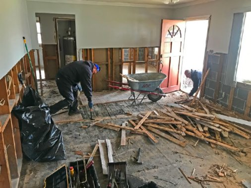 Removing furniture, drywall, insulation and flooring